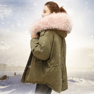 yaloo/雅鹿羽绒服女收腰韩国2017新款冬季韩版连帽加厚潮