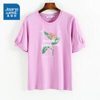 真维斯女装 夏装新款 袖口缩褶圆领印花短袖T恤