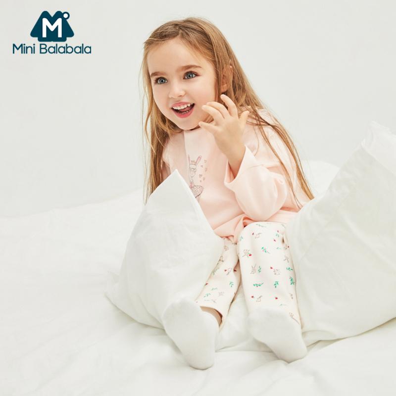 【清仓3件3折】迷你巴拉巴拉女童家居服套装2019春新款儿童印花內着睡衣两件套
