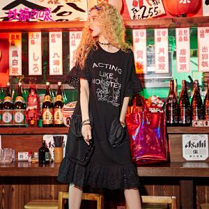 妖精的口袋短袖女2018新款t恤裙长款chic蕾丝黑色连衣裙
