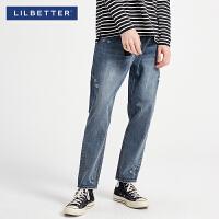 2.5折价:105;Lilbetter2019冬装新款破洞牛仔裤韩版水洗小脚潮牌长裤男士牛仔裤