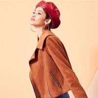 衬衫领拉链口袋7m2018秋装新款韩版小清新学生女上衣长袖短外套女