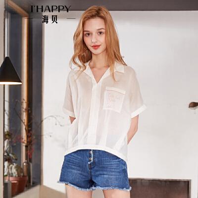 海贝2018夏季新款女装 方领短袖白色纯棉字母印花衬衫上衣