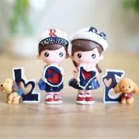 创意礼品家居饰品树脂工艺卡通动漫搁板摆件LOVE海军结婚礼品玩具