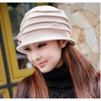 女士秋冬天韩版渔夫帽冬季毛线毛呢 韩国羊毛针织帽 英伦羊毛盆帽子