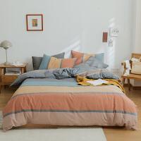伊迪梦家纺 日式色织水洗棉纯棉四件套 无印全棉纯色良品双人床上用品经典条格简约格子条纹ND61