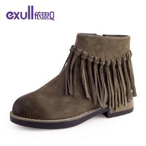 依思q冬季新款反绒皮圆头粗跟中跟短靴时尚流苏女靴