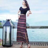 夏季新品女装两件套装裙子短袖开叉连衣裙波西米亚海边度假沙滩裙 T恤套装 XZA254