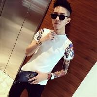 夏季男短袖T恤翻领POLO衫韩版社会人精神小伙紧身半截袖小衫
