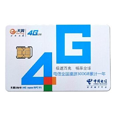 中国电信4G上网卡 资费套餐卡 全国漫游300GB累计1年 购买当月激活日起360天