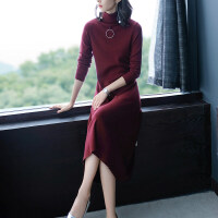 长款毛衣长裙过膝女秋冬中长款针织衫韩版百搭打底连衣裙