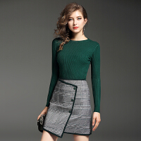连衣裙女秋季时尚女装中长款显瘦包臀长袖针织套装裙子新款