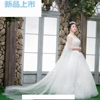 婚纱礼服春季2018韩版中袖v领长拖尾婚纱大码显瘦胖mm
