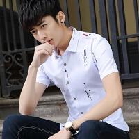 短袖衬衫男2018夏季新款青少年韩版修身潮流帅气休闲男装衬衣