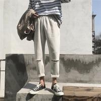 2018夏季新款破洞男士休闲裤港风韩版阔腿裤宽松百搭潮男生哈伦裤