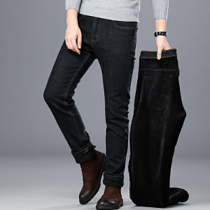 加绒牛仔裤男2018新款秋冬季加厚保暖韩版修身显瘦弹力休闲小脚裤