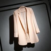 春夏中长款雪纺小西装女七分袖宽松显瘦白色西服大码防晒衣薄外套 粉红色 皮粉