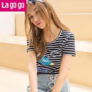 【清仓3折价51.9】Lagogo2019夏新款圆领黑白条纹T恤女卡通印花女士修身短袖上衣