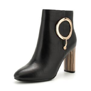 星期六(ST&SAT)冬季专柜同款牛皮革金属木纹粗跟短靴SS74116520