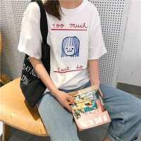 字母印花宽松时尚上衣个性学院风圆领短袖简约甜美打底衫T恤