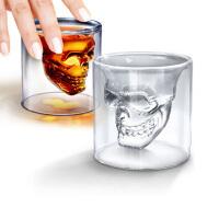 玻璃水杯子禁锢海盗骷髅头骨杯子 耐热双层玻璃水晶啤酒杯烈酒杯