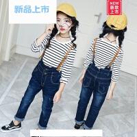 女童背带裤韩版春季牛仔童装2018新款休闲时尚洋气宝宝儿童牛仔裤