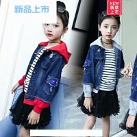 女童牛仔外套2018新款春秋季韩版连帽女孩短款上衣8-12岁儿童春装