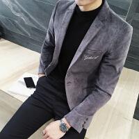 秋冬新款潮男西装韩版修身休闲西服男外套英伦风灯芯绒面料西装男