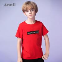 【3件3折:50.7】安奈儿童装男童纯棉圆领短袖T恤夏装新款