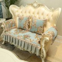 欧式沙发垫冬季防滑 毛绒 简约现代 通用米蓝色沙发套坐垫子 孔雀蓝 花语蓝