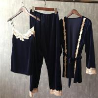 珊瑚绒睡衣女秋三件套金丝绒薄款性感吊带长裤浴袍公主家居服