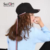 She'sGirl茜子 日韩纯色棒球帽 蝴蝶结飘带鸭舌帽 刺绣玫瑰帽子