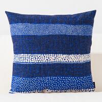 蓝色简约棉麻抱枕北欧ins靠垫办公沙发靠垫汽车布艺靠枕 花式圆 新款方枕