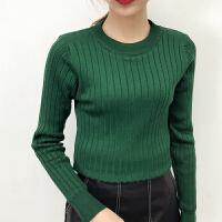 韩版女士短款圆领长袖加绒加厚保暖套头针织毛衣紧身打底衫女秋冬