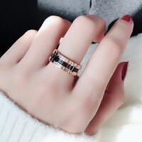 食指钛钢戒指女玫瑰金潮人网红简约个性百搭学生指环