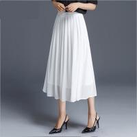 半身长裙女夏季时尚大码白色高腰裙半身裙中长款字裙
