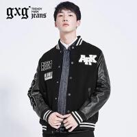 [新品]gxg jeans男装冬季修身拼接休闲棒球领夹克外套潮64921002