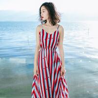 夏季新品女装修身无袖条纹雪纺吊带连衣裙长裙海边度假沙滩裙 图片色X593