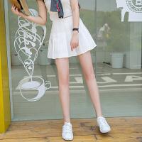 慈姑白色百褶裙半身裙短裙 夏季新款�W生高腰防走光�W球裙A字�裙女夏