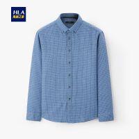 HLA/海澜之家时尚格纹长袖衬衫2019冬季新品扣领保暖长衬男