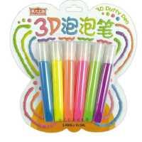 美术王国儿童创意diy立体彩绘泡泡笔 3D果冻笔夜光笔荧光笔金属笔