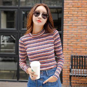 半高领条纹打底衫女长袖秋冬韩版修身长袖女t恤外穿秋衣体恤