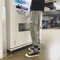 新款秋冬季日系复古潮男哈伦休闲裤大口袋拼接收口卫裤运动长裤