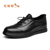 红蜻蜓新款双层皮真皮牛皮系带休闲鞋