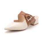 星期六(ST&SAT)2019春季专柜同款羊皮革金属饰扣时尚穆勒拖鞋SS91110058 米白色