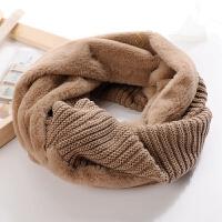 原宿百搭韩版女冬天保暖围脖单圈套头围巾毛毛绒拼接学生脖套加厚