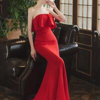 【品质优选】晚礼服女性感包臀抹胸性感年会晚礼服女红色礼服抹胸宴会洋装名媛主持人长款包臀鱼尾裙 酒红色