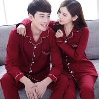 春秋夏季情侣睡衣纯棉长袖结婚大红色本命年新婚男女士家居服套装