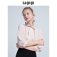 【5折价179.5】Lagogo/拉谷谷2018年秋季新款时尚系带纽扣雪纺衫HCCC336C25