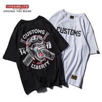 嘻哈风恶搞图案印花短袖T恤男夏季复古宽松蝙蝠衫潮牌半袖